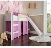 Cama Infantil Branco Rosa Elevada com Escorregador Completa Móveis