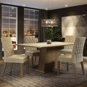Conjunto Sala de Jantar Madesa Ingrid Mesa Tampo de Madeira com 4 Cadeiras Rustic/Crema/Imperial