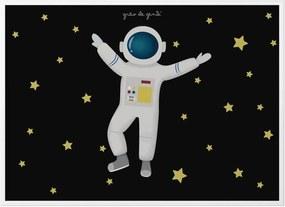 Quadro Foguete e Estrelas 33cm GrÁo de Gente Azul