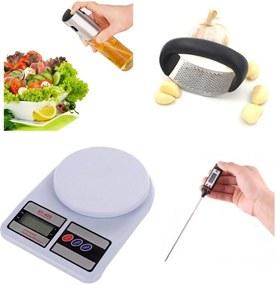 Kit Culinario 4Pçs - Balança/ Termometro/ Espremedor/ Spray