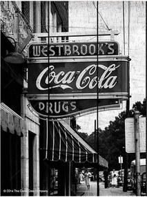 Placa Coca-Cola Drug Store Sign Preto e Branco em Madeira - Urban