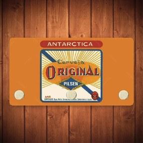 Porta-Chaves Antarctica Original Amarelo - 3 Ganchos - em Metal