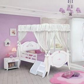 Cama Infantil Princesa Encantada Clean com Dossel, Grade, Escadinha e Escorregador - Pura Magia