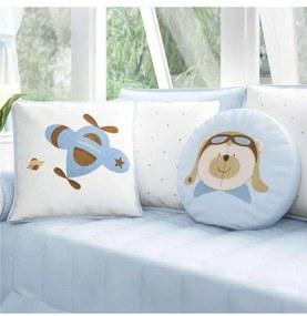 Almofadas Azul Bebê Urso Aviador Grão de Gente Azu