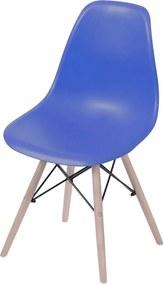 Cadeira Eames Dkr Polipropileno Base Eiffel Madeira Azul Escuro