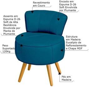 Poltrona Decorativa Sala de Estar Pés Palito em Madeira Europa Couro Azul - Gran Belo