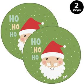 Capa para Sousplat Mdecore Natal Papai Noel Verde2pçs