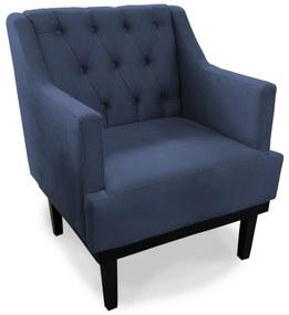 Poltrona Decorativa Clássica Capitonê Pés Madeira Suede Azul - Sheep Estofados - Azul escuro