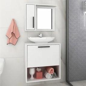 Conjunto Banheiro Balcão 1 Porta 1 Nicho e Aéreo Espelho BRV - Branco