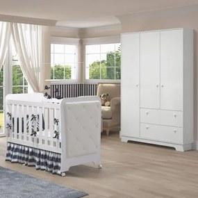 Quarto de Bebê Guarda Roupa 3 Portas e Berço Botonê Carícia Branco - Móveis Estrela
