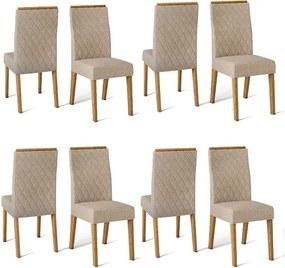 Conjunto 8 Cadeiras Cássia Carvalho Nobre Tecido Linho Saara