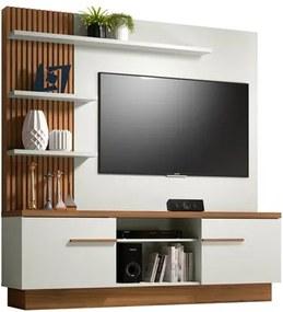 Estante Home Painel para TV até 55 Pol. Itaipu Off White/Nogueira - Linea Brasil