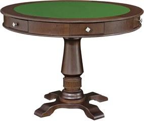 Mesa de Jogos Carteado 4 Lugares Victoria Redonda Tampo Reversível com Gavetas e Porta Copos Imbuia - Gran Belo