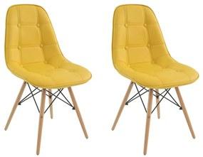 Kit 2 Cadeiras Decorativas Sala e Escritório Cadenna PU Sintético Amarela - Gran Belo