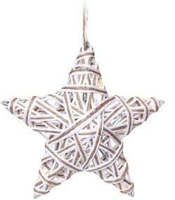 Estrela Juta Rúsica Árvore De Natal C/ 5 Leds  Branco