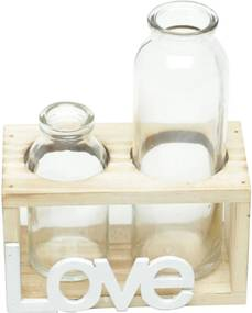 Vaso Decorativo Two Bottles Love Transparente 7,5X8X14,5Cm Urban