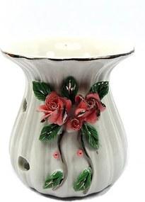 Aromatizador em Cerâmica com Flores Rosas (9cm)