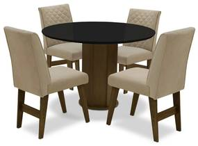 Conjunto Mesa de Jantar Isis com 04 Cadeiras Lorena Castanho/Preto/Bege - ADJ DECOR