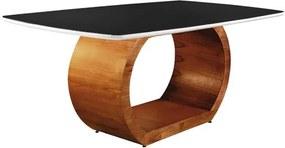 Mesa de Jantar 8 Lugares de Madeira Imbuia/Branco com Tampo de Vidro Preto 2,20m Sirkel
