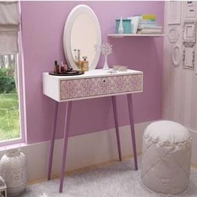 Penteadeira com Espelho Oval Polido e 1 Gaveta - Branco/Rosa