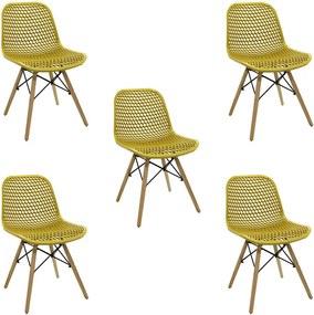 Kit 5 Cadeiras Decorativas Sala e Cozinha Haney (PP) Amarela Ocre - Gran Belo