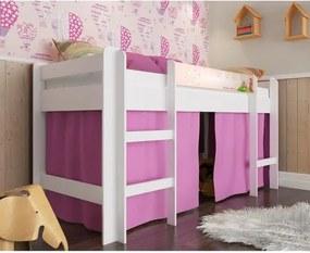 Cama Infantil Alta com Cortina Rosa - Branco