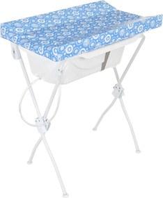 Banheira Tutti Baby Ergonômica Com Trocador Dobrável Azul