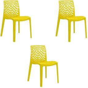 Kit 3 Cadeiras Decorativas Sala e Cozinha Cruzzer (PP) Amarela - Gran Belo