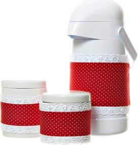 Potes E Garrafa Com Capa Vermelha Potinho de Mel Vermelho