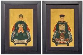 Quadro Casal Imperial Chinês Verde Escuro Par P