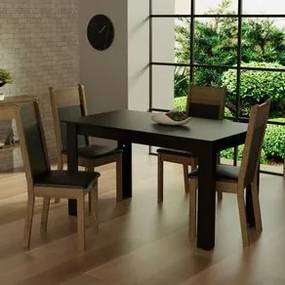 Conjunto Sala de Jantar Madesa Havana Mesa Tampo de Madeira com 4 Cadeiras Preto/Rustic Cor:Preto/Rustic