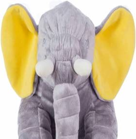 Almofada I9 baby Elefante para Bebê 67 cm Cinza e Amarelo