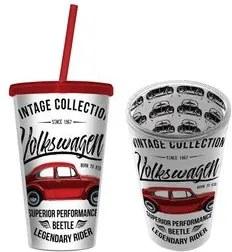 Copo com Canudo Carro Fusca Vintage Volkswagen