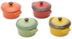 Jogo Mini Panelas Redondas De Porcelana Coloridas Com Tampa 12,5 Cm 4 Peças 30396 Bon Gourmet