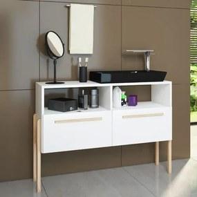 Gabinete para Banheiro Jasmin 2 Portas com Pés Palito - Branco