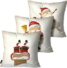 Kit com 3 Almofadas de Natal Decorativas Bege55x55