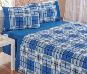Roupa de Cama Casal Queen Veneza 150 Fios Kit 04 Peças - Azul