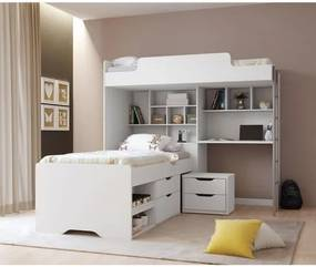 Beliche Office Teen New com Gavetas e Mesa de Cabeceira - Branco