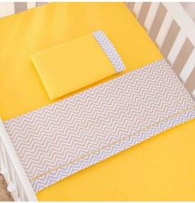 Jogo de lençol Berço Americano 3 peças Chevron Amarelo