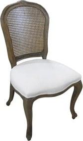 Cadeira Luis XV Em Madeira Estofado Branco - 99x50x51cm