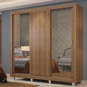 Guarda-Roupa Casal Madesa Lyon Plus 3 Portas de Correr com Espelhos 4 Gavetas com Pés Rustic Cor:Rustic