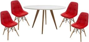 Conjunto Mesa Square Redonda Branco Fosco 108cm + 4 Cadeiras Eiffel Botone Vermelha