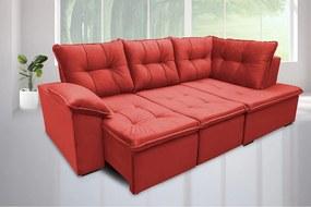 Sofá Retrátil Com Chaise Napoles 2,51 X 1,50m Suede Amassado Vermelho - Cama Inbox