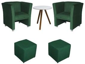 Conjunto 2 Poltrona Jade com 2 Puffs Ana + Mesa Laura Suede Verde Bandeira