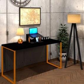 Mesa Para Escritório Diretor Estilo Industrial  Vintage | Tam: 150x60|Cor: Preto Com Cobre