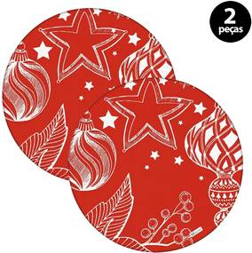 Capa para Sousplat Mdecore Natal Bolas de Natal Vermelho2pçs