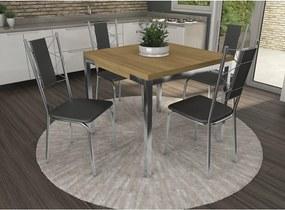 Conjunto Mesa Shire com 4 Cadeiras Lisboa Preto e Cromado Kappesberg Crome