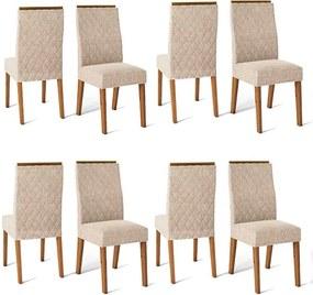 Conjunto 8 Cadeiras Cássia Rústico Terrara Tecido Linho Claro