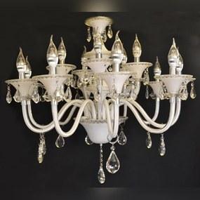 Lustre em Cristal Branco 12 Velas Gotas de Cristal Lapidado