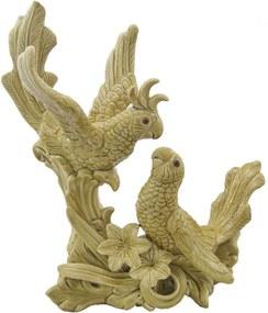 Escultura Look Passaros casal amarelo